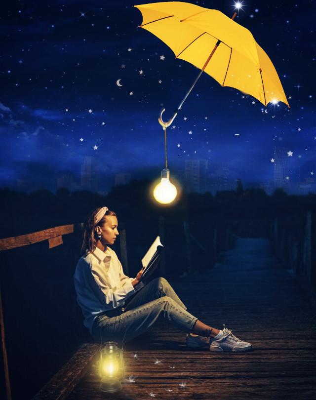 #sky#stars#moon#girl#umbrella# #landscape#