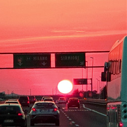road sunset red travel