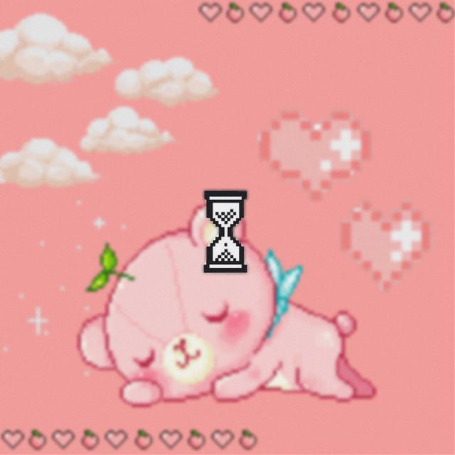 #anime #japan #art #cute #adorable #kawaii #bear #babie #pink #peach #pastel #pixel #pixelkawaii #blur #loading #belgium #picsart #edit