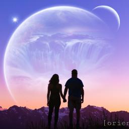 sunset silhouette mountain waterfall planet moon star romantic orient_arts madewithpicsart heypicsart makeawesome picsart freetoedit