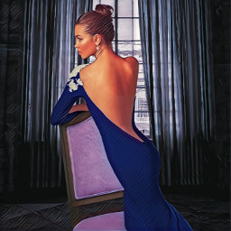 fashion fashionart fashionpose pose portrait profile dress gown eveninggown strapless backless backlessdress lovely glamorous hairstyle updo hairdo photoart photoedit blue loveandkisses freetoedit