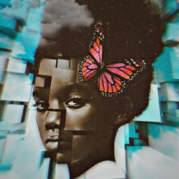 freetoedit unsplash 3d girlportrait 3deffect butterfly