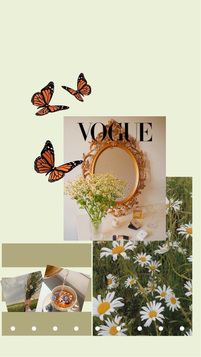 #wallpaper #wallpaperedit #collage #vogue #butterfly #sticker #stickers #green #greenvibes #flowers