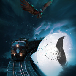 crow raven train music sky clouds universe nightsky freetoedit