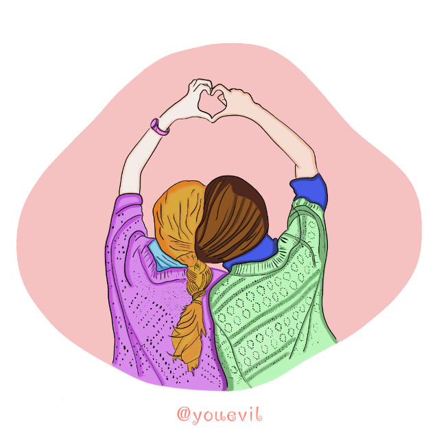 #friends#sisters#bff#girls#softcolors#soft#paintedversion#editit#girlythings#newart#mydrawing (a new type of drawing I am experimenting with.)