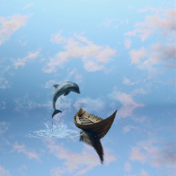 dolphin sea boat sky freetoedit