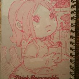 pudding drawing girl art pen&paper drinking red superhero pen