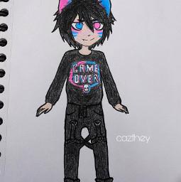 freetoedit cazfhey art kawaii cute sketch outfit oc character design kitsune catboy nekoboy glitch vaporwave fashion vaporfashion cyberpunk streetfashion streetstyle anime animeboy
