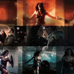 wonderwoman redandblue patriotic stars blend collage pictures mashup