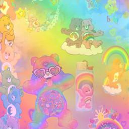 carebears kidcore kidcoreaesthetic kidzone kidsart kidcorre rainbow rainbowcarebear karebears moon stars picsart freetoedit
