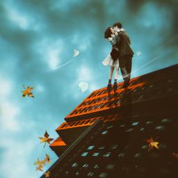 love inlove couple bff fall autumn wind fallingleaves skyscraper freetoedit unsplash