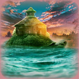 fantasy turtle home house sunset freetoedit