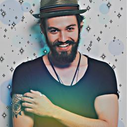 hat man guy happy smiling beard boy mustache remixit