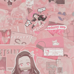 freetoedit wallpaper pink aesthetic background nezuko kimetsunoyaiba anime