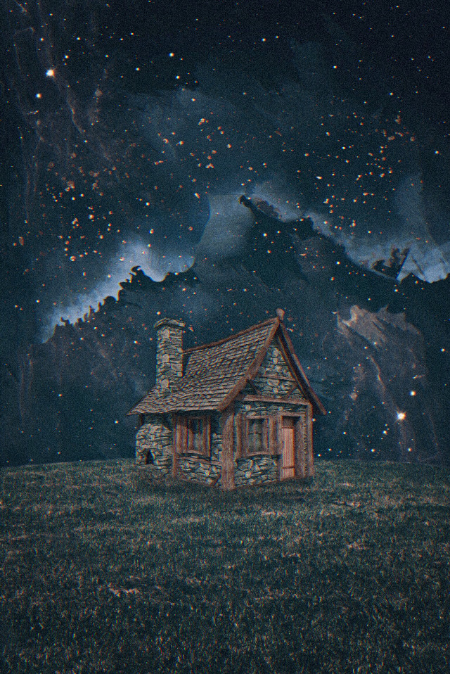 they say the heart is where the home is, but you took my heart with you, darling, and now i'm homeless and heartless.   #freetoedit #house #night #fields #stars #alone #art #prose