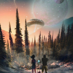 space sky stars mountains forest trees planet fog people landscape myediting freetoedit