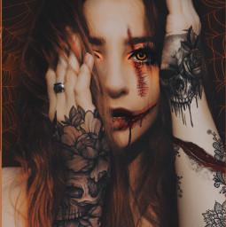freetoedit myedit papicks halloween girl scary