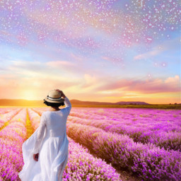 fantasyart landscape fantasyworld woman flowers lavender clouds dreamy surreal surrealistic aesthetic colorful pastelcolors stickerart coloradjust heypicsart make_awesome makeawsome myimagination myedit madewithpicsart freetoedit