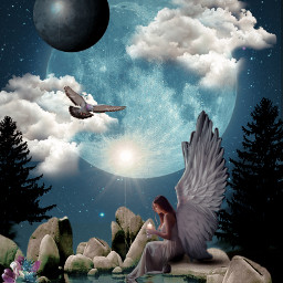 freetoedit night moon angel surrealism water rocks bird clouds tree flowers
