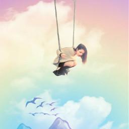 fantasyart hands girl swing cloudsandsky mountains cute dreamy surreal surrealistic makebelieve myimagination stickers oilpaintingeffect coloradjust colorful pastelcolors heypicsart myedit madewithpicsart freetoedit