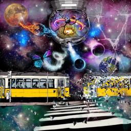 galaxy snowglobe train trolly planets twilighteffect twilightzone freetoedit