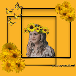 emmawatson yellowflowers yellowbutterflies sunflowers sunflowercrown freetoedit
