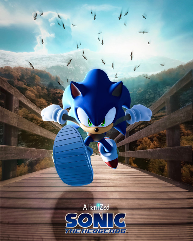 Today we are going to do some jogging ☝🏻👽   Have a wonderful Sunday planet 👋🏻👽👉🏻☕️🍪🍩@PA 😊  #sonic #sega #fanart #videogames #running #nature #bridge #wood #birds #mountains background picture OP #unsplash #alienized #wallpaper #uhd #editedwithpicsart