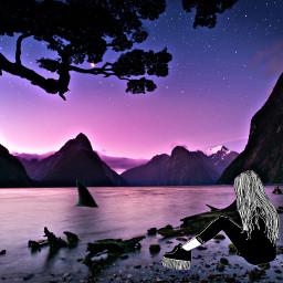 girl shark galaxy cliff trees silhouette water stars pretty cool