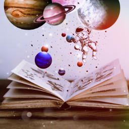 magic book planats astronaut stars freetoedit