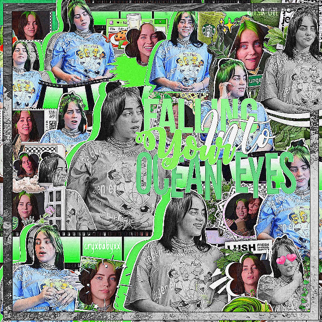 """""""𝙵𝙰𝙻𝙻𝙸𝙽𝙶 𝙵𝙾𝚁 𝚈𝙾𝚄𝚁 𝙾𝙲𝙴𝙰𝙽 𝙴𝚈𝙴𝚂""""    WELCOME TO @CRYBABYXX PICSART ACCOUNT !  ABOUT EDIT: who: billie eilish  movie/show: 🚫  time: 2 hours  color: green   ABOUT EDITOR: followers: 1.3k  mood: okayyy  time: 2:01  date: 9.21.20  EXTRA NOTES: my edits are getting guuuuuuud ! and too lazy to do fonts so-  HASTAGS: #billieeilish #oceaneyes #complex #complexbackground #complexoverlay #complexediting #compelxedit #green #greenaesthetic   TAGS: @hqneyswcct-  @lovely_editsx  @luv_holland  @cryxbabyxxfan-  @qucci- @brooklyn0120   { dm me to be on taglist ! }   THANK YOU FOR STOPPING BY !      #freetoedit"""