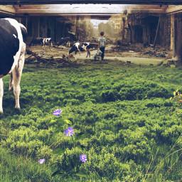 freetoedit picsart remixed remixit myedit photoedit photomanipulation digitalart digitaledit madewithpicsart editedbyme editedwithpicsart surrealism magic fantasy stayinspired picsarteffects unsplash pexels shutterstock pastickers cow stable ruin
