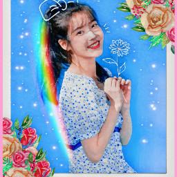 fanartiu iu prisma kpop primavera flowers polaroid holographic blue feed view freetoedit rcspringishere springishere