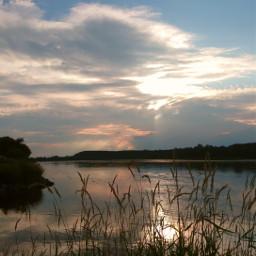 sky clouds sunset evening silouhette grass river myphoto myclick freetoedit pcgoldenhour goldenhour