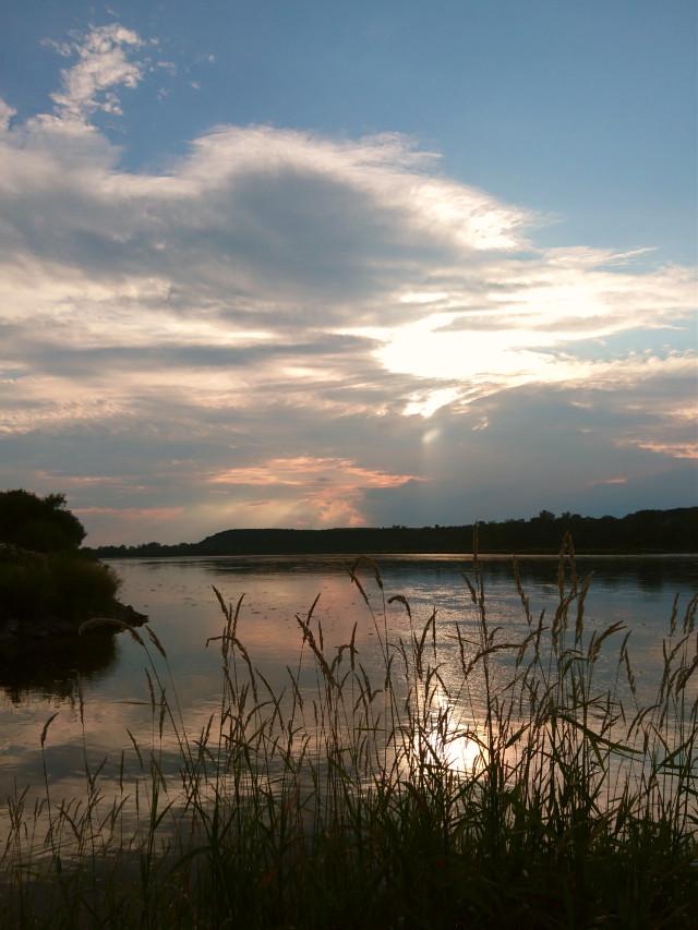 #sky #clouds #sunset #evening #silouhette #grass #river #myphoto #myclick