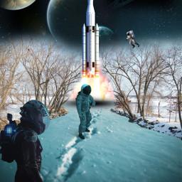 freetoedit surealism space planet cosmos cosmonaut night sky rocketship tree snow