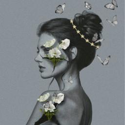 freetoedit edit edited editbyme editedbyme editwithpicsart editedwithpicsart girl flowers butterfly