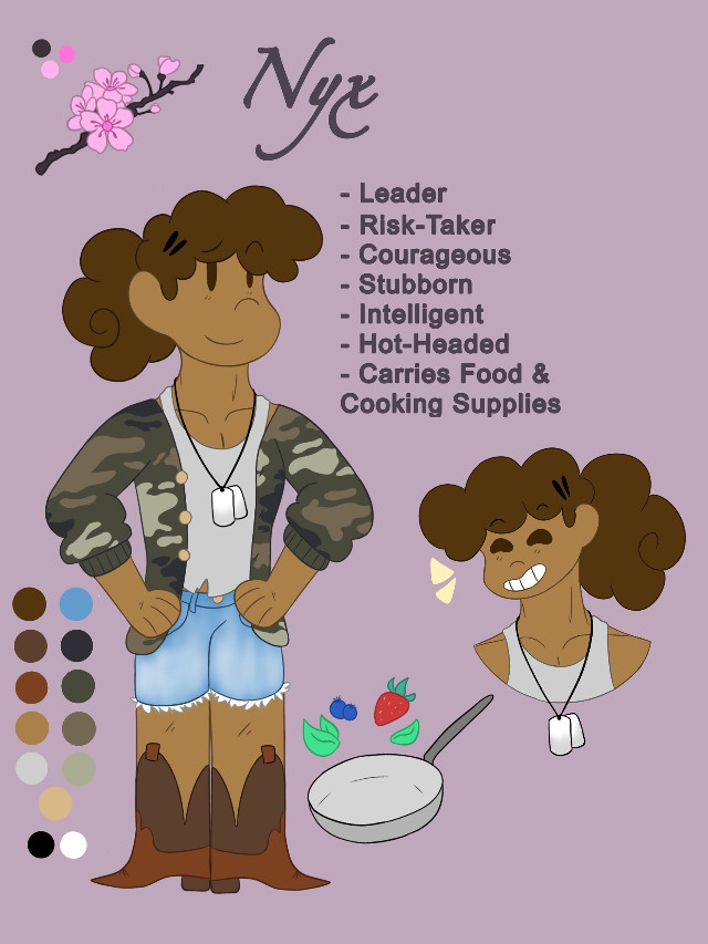 (I realized i never posted this anywhere-) 1/3 This is Nyx! She was part of a video game storyline i wrote. She's the leader of a group of kids in a postapocalyptic world and the group is trying to find what started the epidemic and how to stop it. If ya'll want, i can try to find some snippets and post them. (I'll also be posting the other two characters.)  Please, do not remix my art  #origionalart #digitalart #oc #videogamecharacter #referencesheet