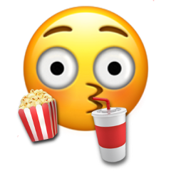 popcorn coke emoji shocked entertained entertaining freetoedit