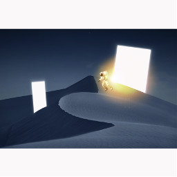 icyx madewithpicsart heypicsart unsplash astronaut light square desert night blue space sun world another portal remixit freetoedit