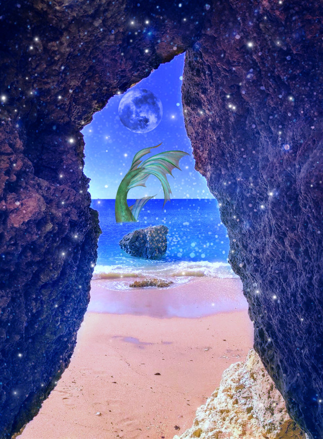 #cave #mermaid #fantasy #moon #fullmoon #sand #beach #stars #magical #brushtool #madewithpicsart