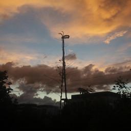 freetoedit orabge sunset orangesunset orangesky orangeclouds cloud clouds nature outdoors sky sunsetsky sillouette blue black bluesky orangebluesky blueandorangesky orangeandbluesky pcgoldenhour goldenhour