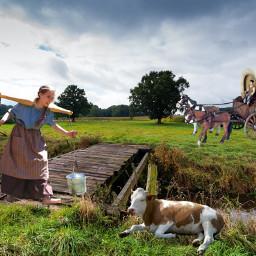 pioneer wagon horses cow woman fantasy surreal photomanipulation freetoedit