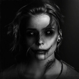 horror scary photography blackandwhite slitmouth bloody girl fx scaryedit halloween2020 stitches dark freetoedit