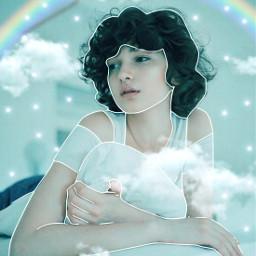 yup_sup girl prettygirl lights shiny rainbow sparkles sparkle blue clouds sky wow mylove leggogeit freetoedit