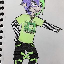 freetoedit cazfhey beetlejuice outfit purplehair greenhair techwear streetfashion streetstyle anime animeboy draw art drawing sketch oc eboy doodle spooky creepycute