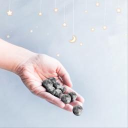 hand moon stars holding photoedit freetoedit