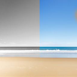 half beach moon sun night day freetoedit