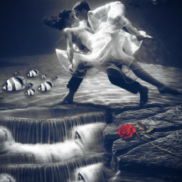 freetoedit picsart remixed remixit myedit photoedit photomanipulation digitalart digitaledit madewithpicsart editedbyme editedwithpicsart surrealism magic fantasy stayinspired picsarteffects unsplash pexels shutterstock pastickers couple dancing underwater rose
