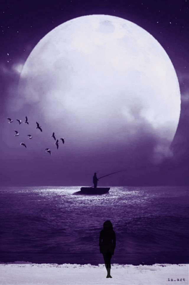 #madewithpicsart #moon #night #silhouette #alone #makeawesome #surreal