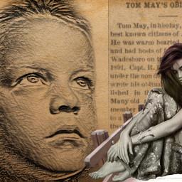 obituary 1891 surreal fantasy lady newspaper photomanipulation myedit freetoedit